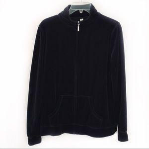 Exertek Black Full Zip Velour Jacket Size L